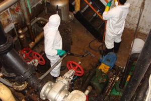 Sewage backup cleaning