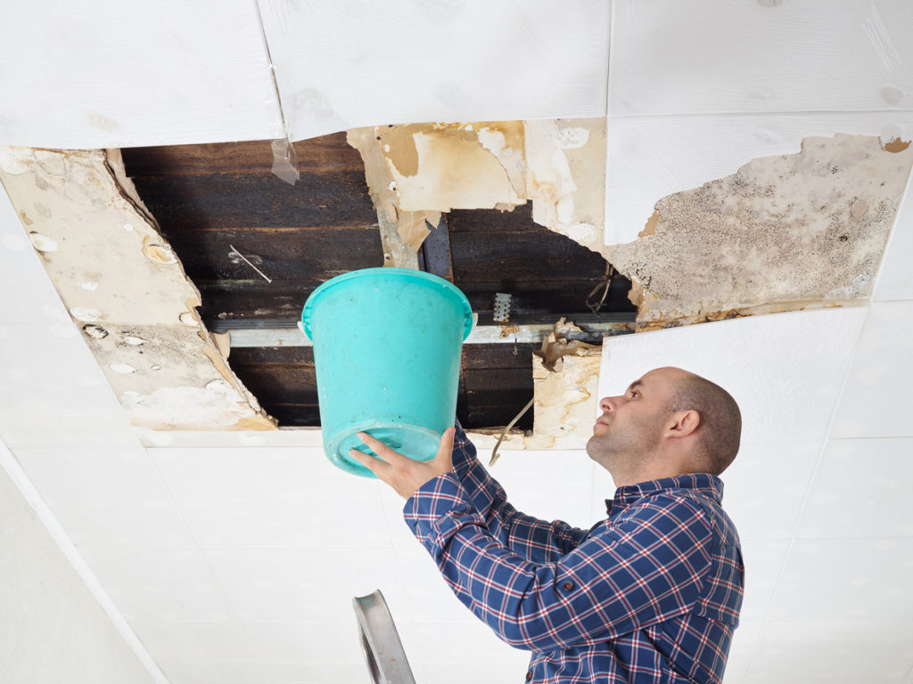 leaking roof water damage restoration
